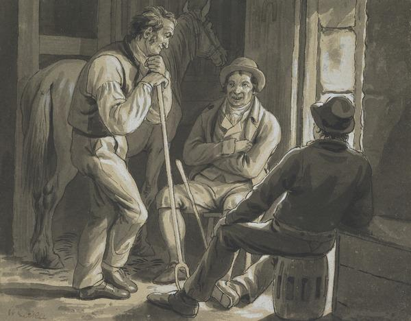 Three Men Gossiping in a Stable
