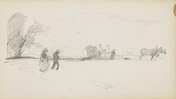 Ploughing [Verso: Sketch]