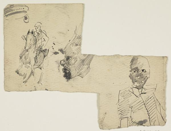 Fragmentary Sheet - Banjo Player and Caricatures (1880)