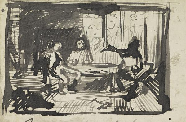 Three Figures Round a Table