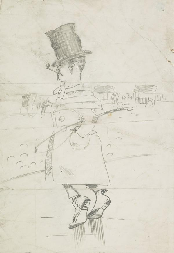 Caricature Sketch of a Man in Top-Hat and Great-Coat, Carrying a Fishing Rod