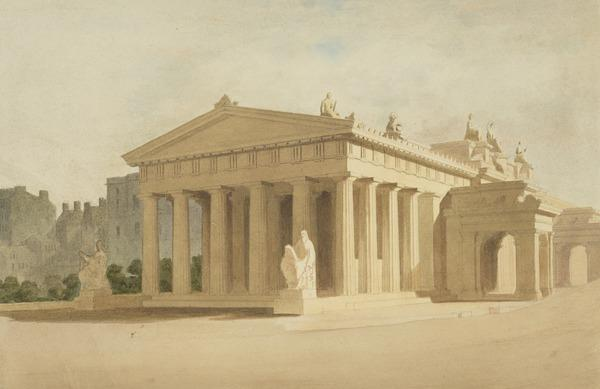 A Design for the Proposed National Gallery and the Royal Scottish Academy Buildings, the Mound, Edinburgh (About 1850)