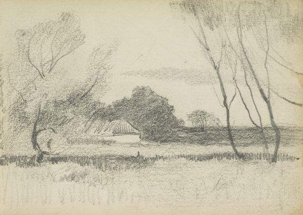 Landscape view with trees and cottage
