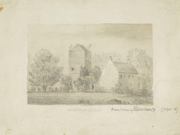 Mugdock Castle [Verso: Sketch of a Woman] (Dated 1872)