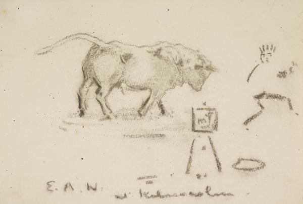 Self-Portrait Chased by a Bull