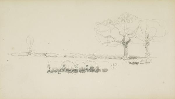 Sheep Feeding in the Winter - Study for 'Grandfather's Garden'