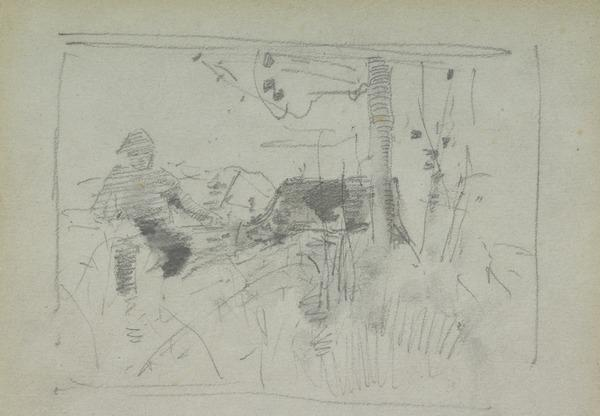 Compositional skecth of a figure seated next to a tree