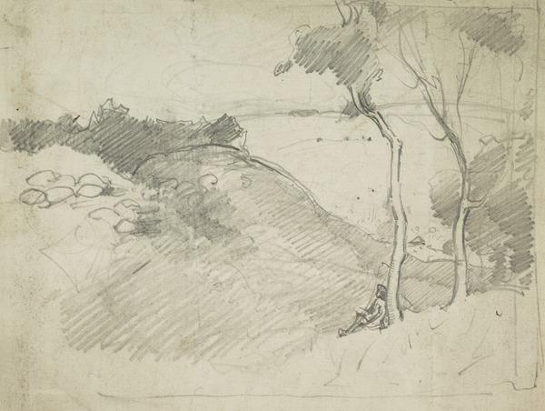 Landscape with two trees and a seated figure