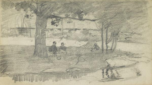 Landscape with figures seated under trees