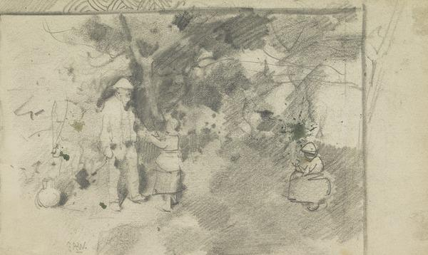 Old Man and Two Girls in a Garden - Study for 'Grandfather's Garden'