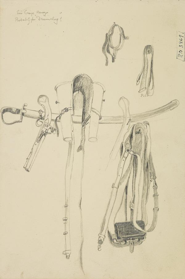 A Flint Lock Pistol, Spurs and Belts [Verso: Tackle]. Probably Studies for the Painting 'The Battle of Drumclog'