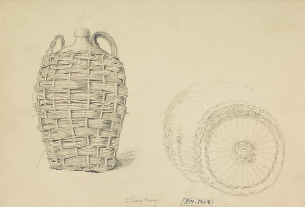 A Wicker Jar Container [Verso: Perspective Drawings]