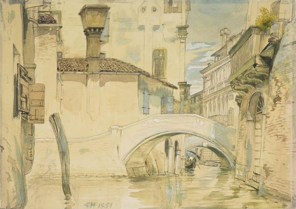 A Canal in Venice [Verso: Sketch of a Woman Carrying Two Baskets] (Dated 1851)