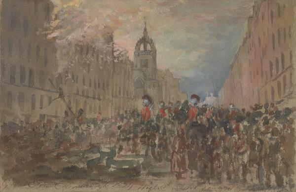 The High Street, Edinburgh during the Fire of 1824 (Dated 1824)