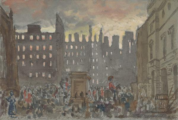 Parliament Square, Edinburgh during the Fire of 1824 (Dated November 1824)