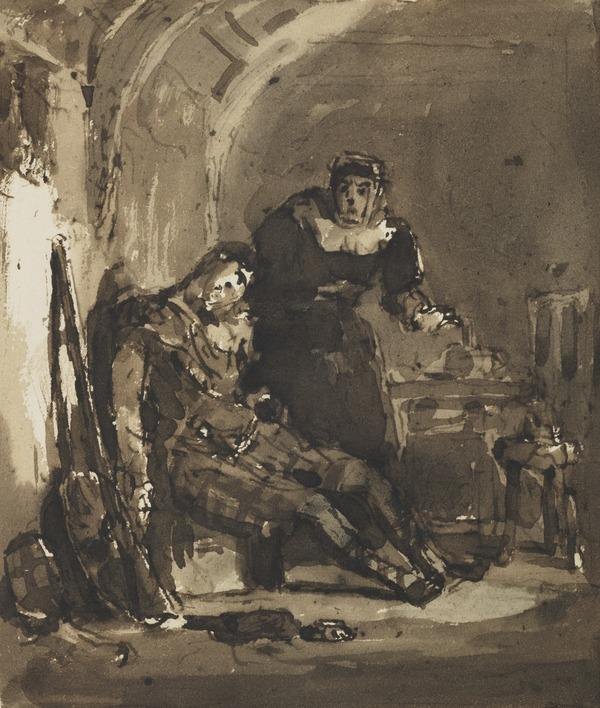 A Highlander Asleep against a Wall, with a Woman Behind Him