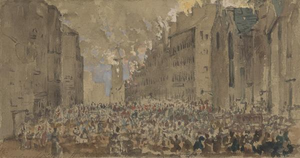 The High Street, Edinburgh, during the Fire of 1824 (Dated 1824)