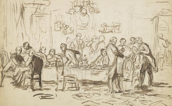A Group of Men Round a Dinner Table [Verso: Sketch of a Group of Men]