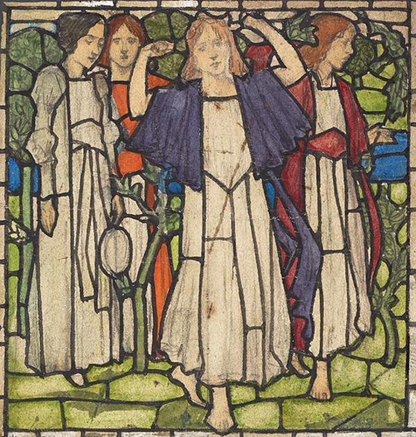 The Procession of Saint Agnes - Stained Glass Design (About 1890-1893)
