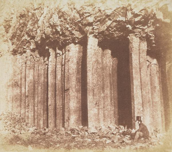 Figure with Basalt Columns, possibly Craigahulliar Quarry, Country Antrim