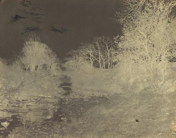 Landscape with stream, trees and bridge