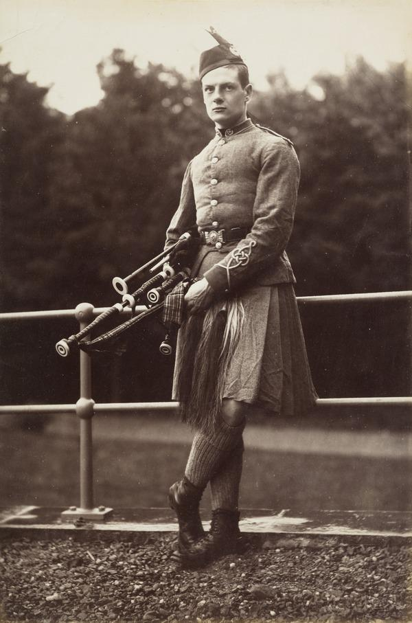 Probably Alfred William Cox, 1861 - 1943. Piper, good shot and fisherman, owned a large selection of antiques, joined the London Scottish... (1881)