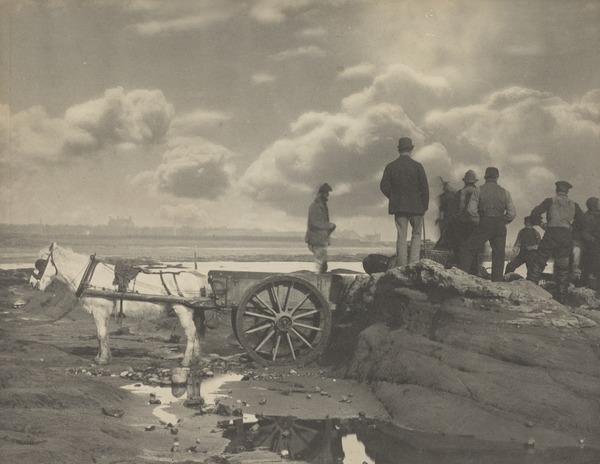 'At West Haven 1881'. Men on rock with horse and cart to left (1881)