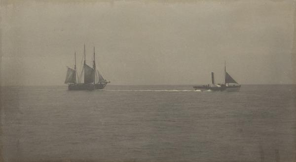 'Taken while sailing to Bell Rock', paddle steamer pulling fishing boat