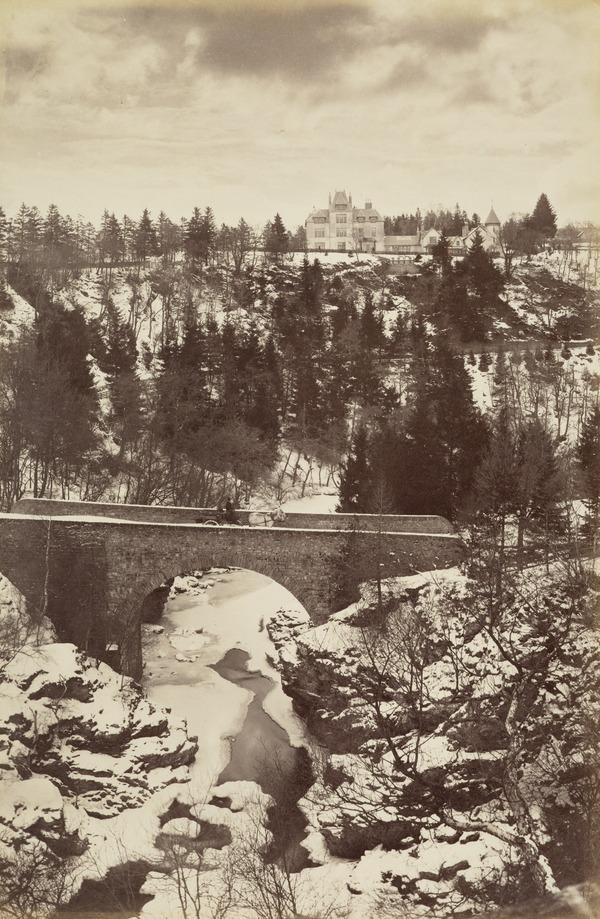 """'At """"The Rumbling Bridge"""" 1881 (Winter), Snow scene (1881)"""