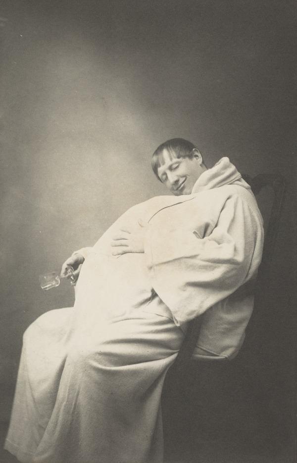 Monk with empty wine glass, asleep (1886)