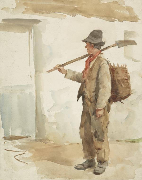 A Peasant with a Spade and a Basket