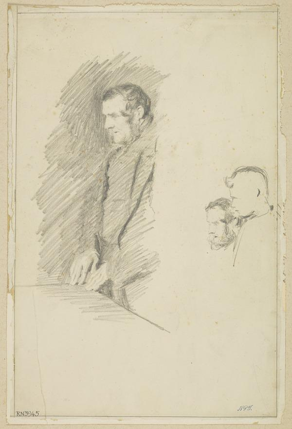 A Man Facing Left and a Study of Two Heads. Study for the Painting 'The Ordination of Elders in a Scottish Kirk'