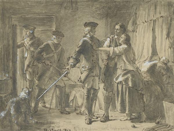 Study for the Painting 'The Arrest of a Rebel after the Battle of Culloden' (Dated 1864)