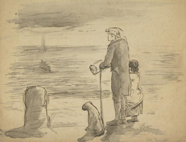 'Seeing them off'. A Man and child at a Quay-Side with a Boat in the Distance (About 1862)