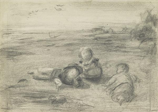 Three Children Building Sand Castles. Study for the Painting 'Enoch Arden'. (About 1865)