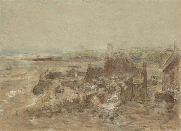 The Equinoctial Gales. Crail Harbour (Dated 1884)
