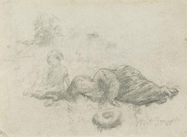 Two Girls. Study for the Painting 'Spring' [Verso: Sketches of Swans and Seagulls] (1864)