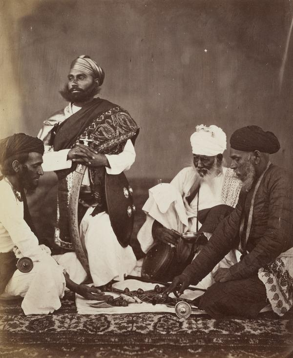 'Rajpoots playing the game of Pucheesee' (Early 1860s)