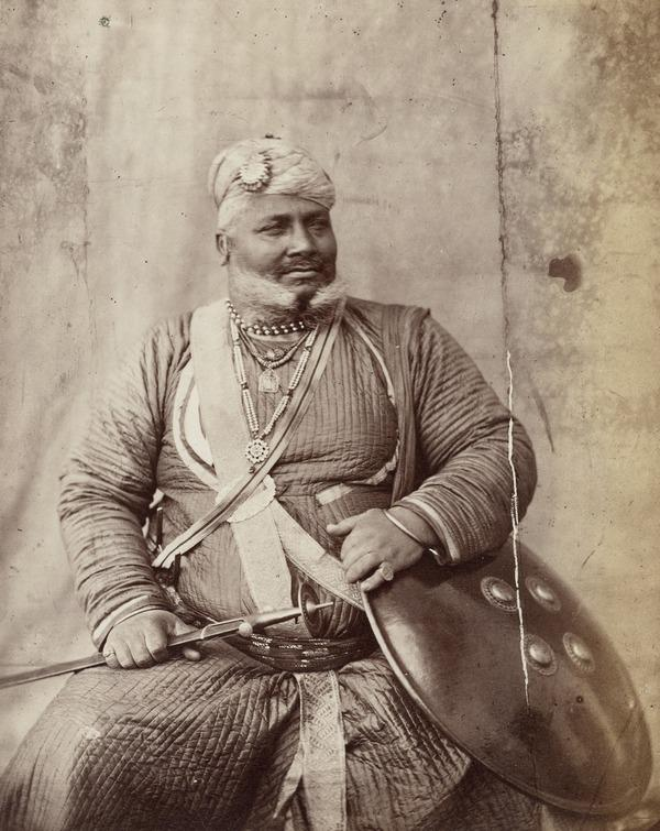 Portrait of Thakoor Lukdeer Singh, a Rajpoot chieftain of Ulwur (Early 1860s)