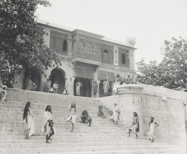 Hindu Monks at a Ghat in Sukkur, Sind (About 1890)