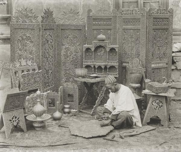 Woodcarver, Kashmir (About 1896)