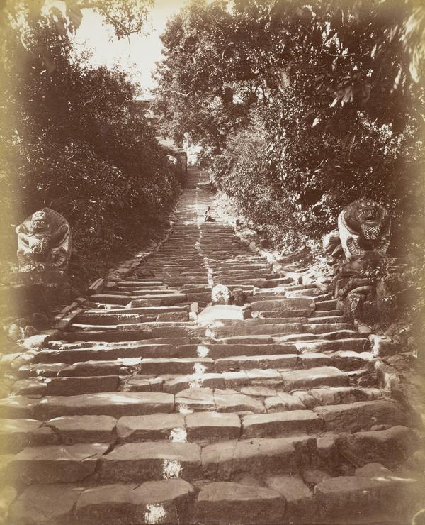 'Steps up to Shayamblaunath [Shayambunnath?], steep steps with carved demons?, part human, part animal