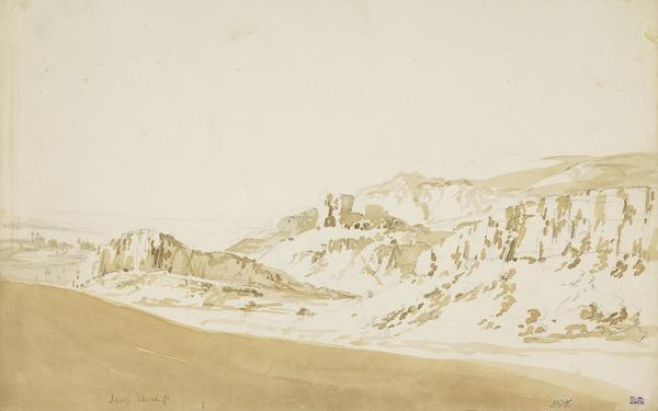 Italian Landscape with a Ruined Castle [Verso: Landscape Sketch]