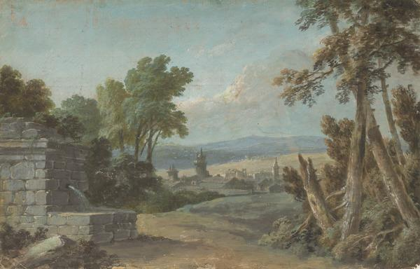 Italian Landscape with a Town in the Mid-Distance