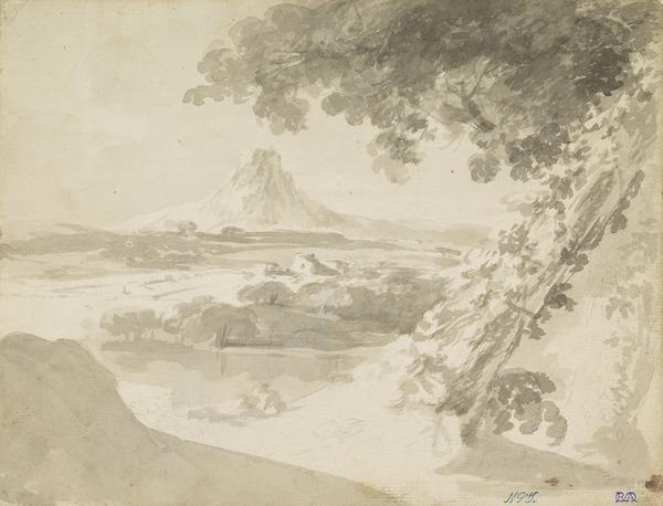 Landscape with a Conical Mountain [Verso: Sketch of a Man's Head]