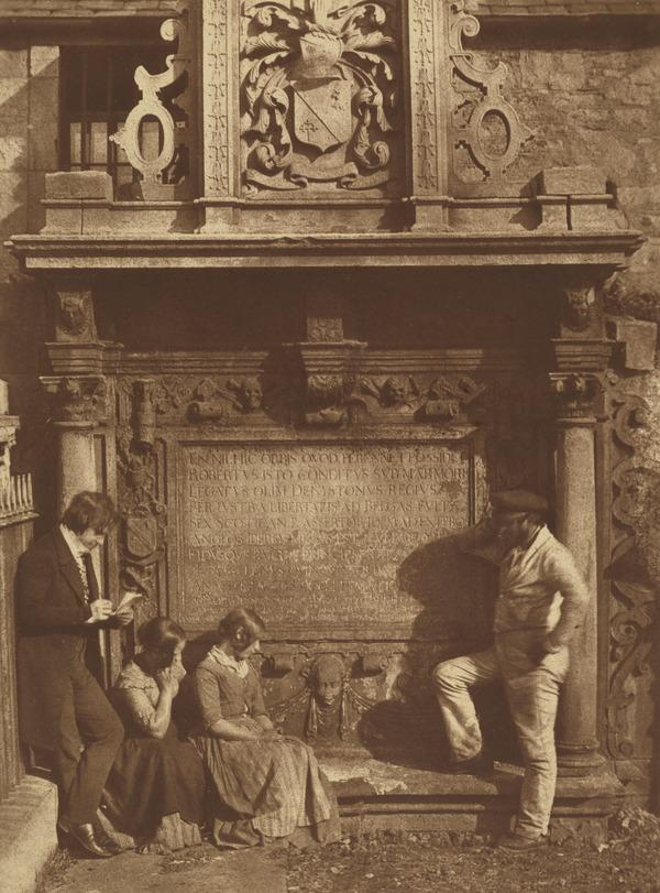 Greyfriars' Churchyard, the Dennistoun monument with David Octavius Hill, his nieces the Misses Watson and an unknown man. Known as 'The Artist...