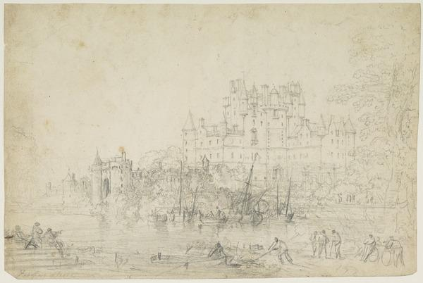 An Imaginary View of Glamis Castle, Angus [Verso: Pencil Sketch]