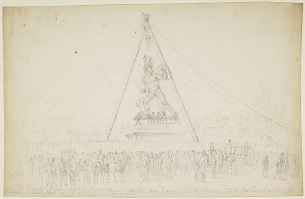 The Erection of Westmacott's Statue of Achilles (Dated July 9, 1822)