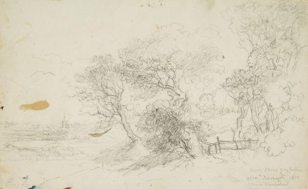 A View near Hampstead [Verso: Sketch of Trees] (Dated 1819)