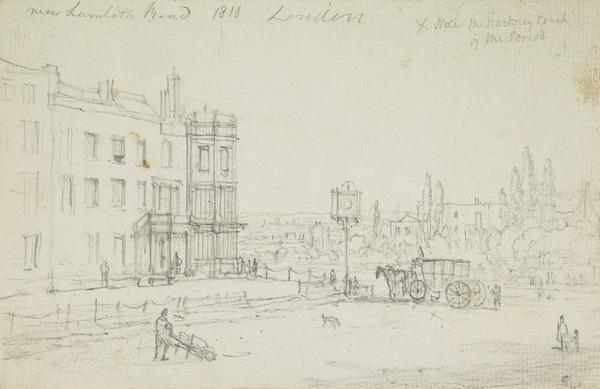Near the Lambeth Road, London [Verso: Engineering Sketch] (Dated 1810)
